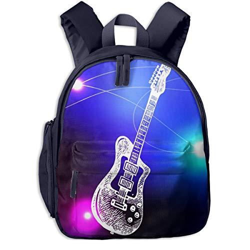 Bolsa La Escuela Mochila con Line Art Guitarra eléctrica de Rock para...