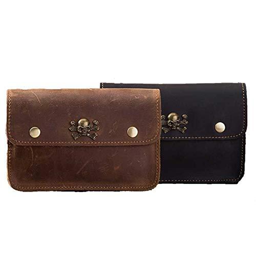Mubolin Bolso de Cuero de Cuero Vintage para iPhone Cintura Clip Holding iPhone Cuero Holster (Color : Negro)