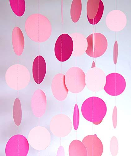 Guirnalda redonda de papel (1,5 m), color rojo rosa