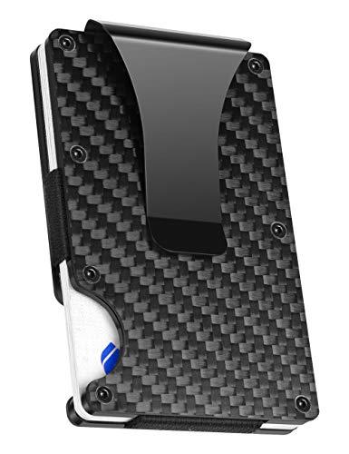Geelyda Carbon Fiber Wallet Mini Credit Card Holder, RFID Blocking Slim Wallet and Money Clip, Front Pocket Wallets for Men- Minimalist Futuristic Design (Black)