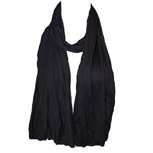 fashion4me Plain Color Cotton Scarf, Skinny Scarf (Black)