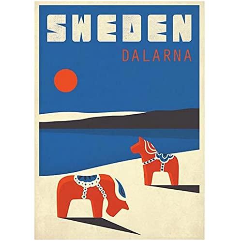 Sverige Dalarna Retro konstverk Konstfilm Silkeaffisch Hemväggdekor 50x70 cm x1 Ingen ram