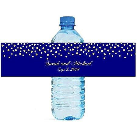 Etiquetas Para Botellas De Agua Con Confeti Dorado De Fondo Azul Marino Para Aniversario De Boda Health Personal Care