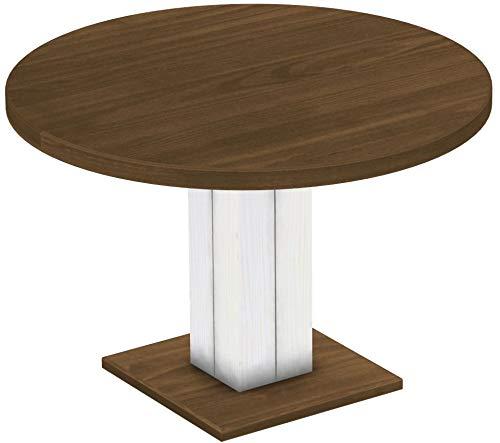 Brasilmöbel Säulentisch Rio UNO Rund 120 cm Nussbaum Weiß Tisch Esstisch Pinie Massivholz Esszimmertisch Holz Küchentisch Echtholz Größe und Farbe wählbar