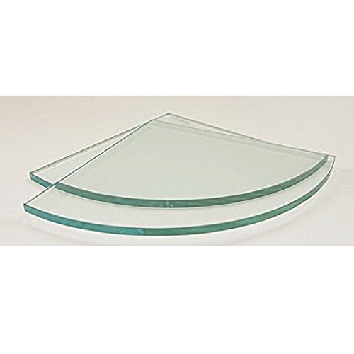 """Spancraft 12"""" Quarter Round Clear Tempered Glass Shower Shelf-Glass Only"""