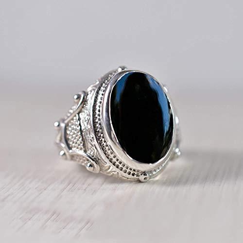 925 Sterling Silver Ring, Oval Cab, Black Onyx Gemstone Ring, Handmade, Rope Designer Ring, Celtic, Unique Gift, Fashionable, Stylish, Natural Black Onyx Gemstone Ring, Men's, Boys, Anniversary Gift