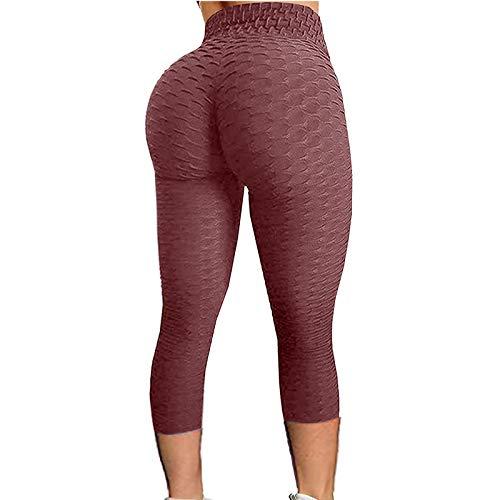 SHOBDW Leggings Push Up Mujer Mallas Pantalones Deportivos Alta Cintura Elásticos Yoga Fitness Pantalones cuadrícula Respirable Casuales De Cintura Alta Pantalón Medio(Rojo2,L)