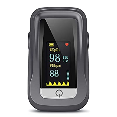 Pulse Oximeter, Oxygen Saturation Monitor Spo2 Fingertip Pulse Oximeter Adult and Child with Omnidirectional OLED Display (Grey)
