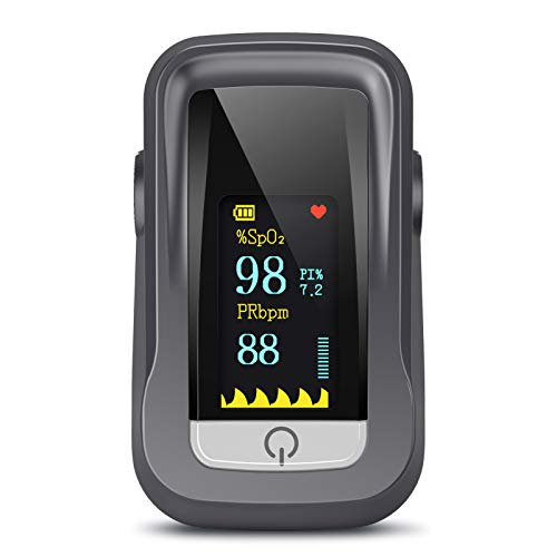 Oxímetro de Pulso, Pulsioximetro de Dedo Profesional con Pantalla TFT que Medición y Lectura Instantánea de SpO2, PR Aplica para Adultos y Niños