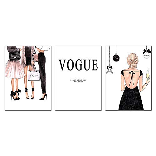 Fashion Wonmen Canvas Poster Nordic Prints Wall Art Canvas Painting Abstract Posters Vogue Painting Pop Art Wall Pictures Sin Marco 35 * 50cm * 3pcs