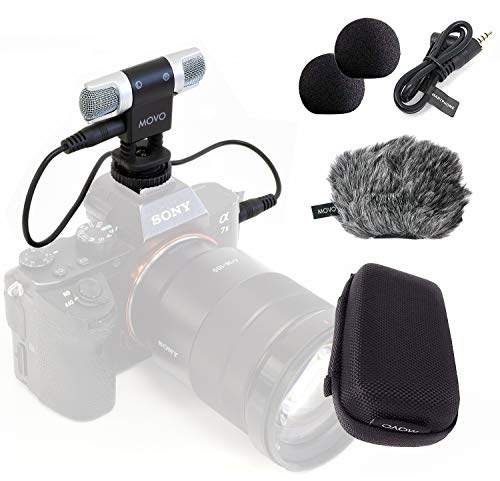 Movo VXR3000 Universal Stereo Microphone with Foam and Furry Windscreens and Travel Case - for iPhone and Android Smartphones, Canon EOS Nikon DSLR, and Action Cameras