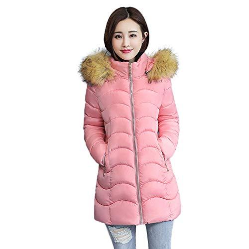 Alikey jack van katoen voor dames, winter, warm, imitatiebont, met capuchon, dik, warm, slim, lange jas