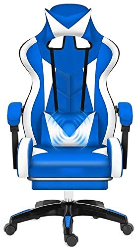 Barstools THBEIBEI High-Back Leather Desk Gaming Chair,with Footrest Ergonomic Adjustable Racing Chair with Headrest and Massage Lumbar Pillow Athletic Chair (Color : Blue White)