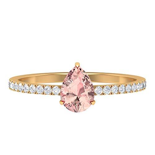 1 CT Lab Erstellt Morganit Ring, HI-SI Diamant-Verlobungsring, 5x7 mm Birnenschliff, Verlobungsring in Tropfenform, Seitenring, 14K Gelbes Gold, Size:EU 48