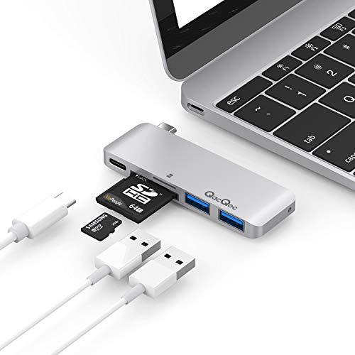 QacQoc 5 in 1 USB-C Hub Aluminium Type C Adapter mit 2 USB3.0, SD/Mirco SD Ports für MacBook 2015/2016, Huawei Matebook 2016,Chormbook 2016 usw.(Silber)