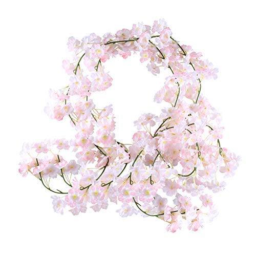 HUAESIN 2pcs Guirnalda de Flores Artificiales Cerezo, 1.8m Plantas Hiedras Artificial Decoracion con Flor Cerezo Vines Colgante Vid Enredadera Artificial para Exterior Interior Pared Arco de Boda