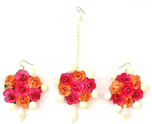 Riya Handicraft Women's Fabric Paper Rose Flower Jewelry Set Artificial Great Wedding Gift
