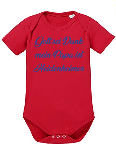clothinx Gott sei Dank, Mein Papa ist Heidenheimer, Lustiges Fussballmotiv Baby Body Bio Rot Gr. 68