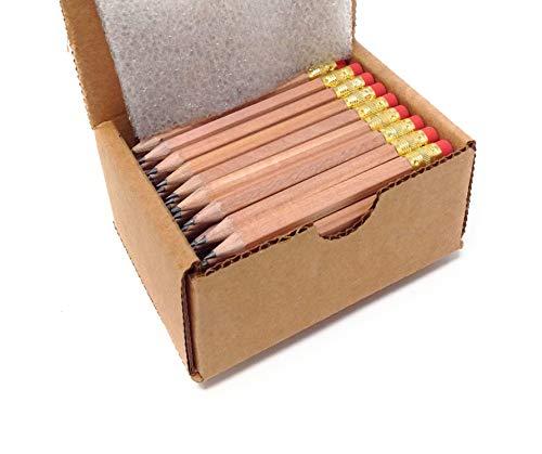 Half Pencils with Eraser - Golf, Classroom, Pew, Pocket -#2 Hexagon, Sharpened, (Box of 48). Color Choice: (Wood Grain)