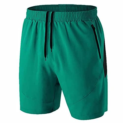 Pantalones Cortos Hombre Running Transpirable Shorts Deportivos Secado Rápido Pantalón Correr con Bolsillo con Cremallera(Verde,EU-3XL/US-2XL)