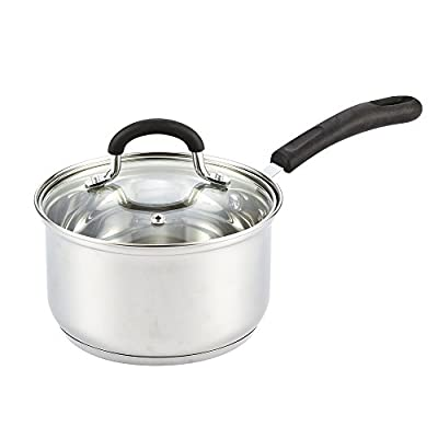 Cook N Home Lid, Silicone Handle 2-Quart Stainless Steel Saucepan, Silver