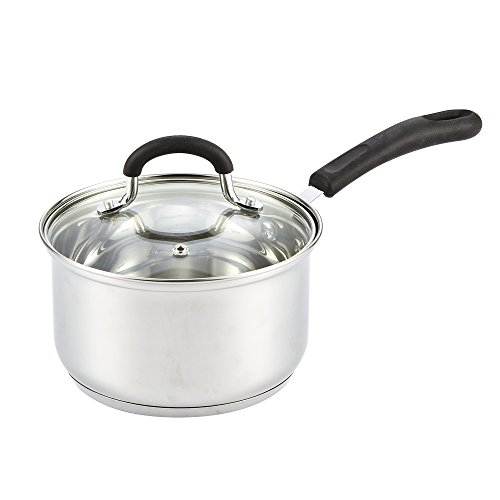 Cook N Home Sartén para saltear, con tapa, de acero inoxidable, 25.4 cm, Plateado, 2-Qt, 1