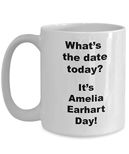 N\A Amelia Earhart Day Novedad Tazas de café Divertidos y extraños Regalos navideños decoración de la Taza, hallazgos interesantes Hombres o Regalos de Broma para Mujeres