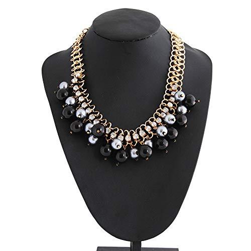 Wanlianer-Jewelry Halskette Halsband Lätzchen Perle für Damen Modeschmuck Chunky Halskette mit Pettorin groß Accessoires für Damen Free Size Nero+Bianco
