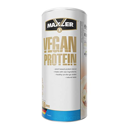 Maxler Vegan Protein Pulver - Laktose & Zuckerfrei - Veganes Proteinpulver für Muskealufbau - Protein Vegan aus Erbsen, Reis, Hanf & Johannisbrot - Eiweißpulver Vegan - Apfel Zimt - 450g