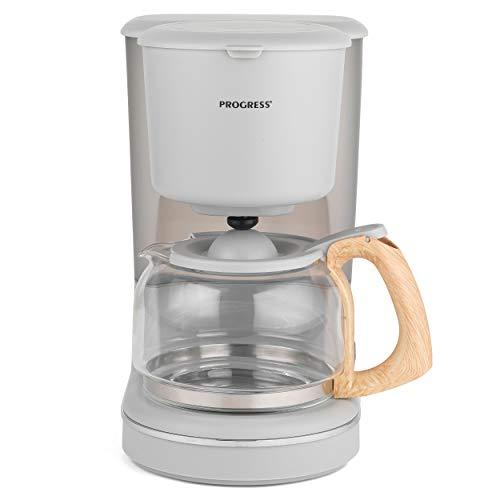 Progress® EK3757PGRY Scandi Kaffeemaschine mit Holz-Effekt-Oberfläche Automatische Abschaltung bei Warmhalten und Anti-Drip-Funktion Abnehmbarer Kegelfilter, 1080 W, 1.25 l Grau