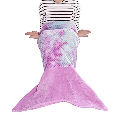 Viviland Kinder Meerjungfrau Decke für Mädchen Kleinkinder, Regenbogen Flanell Fleece Meerjungfrau Schlafsack, Mädchen Geschenke, 43x100cm, Gitter Regenbogen/Lila, Kinder / 1-6 Jahre