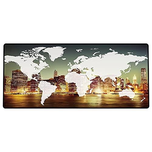 Alfombrilla de ratón para Juegos 600 x 300x3 mm,Mundo, Mundo Global Cartografía Globalización Tierra Concepto Internacional Ciudad de Nueva York Base de Goma Antideslizante, Adecuada para Jugadores
