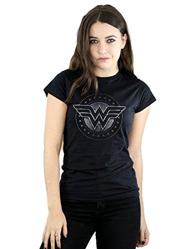 DC Comics mujer Wonder Woman Star Shield Camiseta Medium Negro
