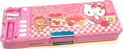 Hello Kitty 2-Sided Pencil Pen Box Holder Deluxe Case Multi Functional w/Sharpener Glitter Patterns Vintage Kit