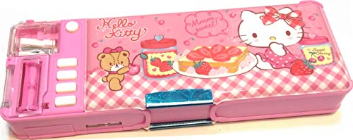 Hello Kitty Glitter Patterns Multi Functional 2-Sided Holder Pencil Pen Box Deluxe Case w/Sharpener Timetable