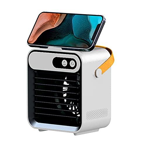 Enfriador de Aire Mini USB De Refrigeración por Aire, Lámpara De Tamaño Pequeño, Fuente De Alimentación Portátil, Enfriador para Dormitorio Familiar Silencioso, con Luz Ambiental LED(Color:Blanco)