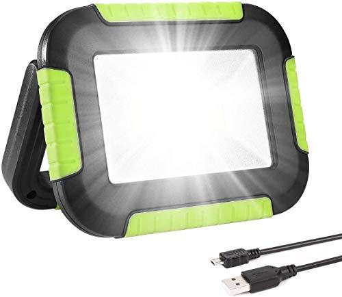 Hasey Foco LED con batería, portátil, 10 W, 1000 lúmenes, superbrillante, recargable, con batería externa de 4400 mAh