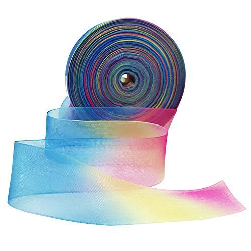 Cinta de Organza, 50 Yardas Cinta de Organza Coloreada, Cinta de Colores Degradados para Embalaje de Regalo, Boda, Vacaciones, Cumpleaños, Fiesta, Decoración de Bricolaje 🔥