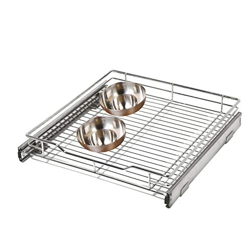 Smart Design 1-Tier Shelf Pull-Out Cabinet Organizer - Medium - Roll-Out Extendable Sliding Drawer - Steel Metal - Holds 100 lbs. - Kitchen (14.5 Inch x 18-35) [Chrome]