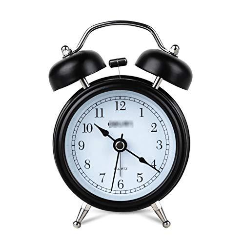 jinrun Moda clásica Alarma silenciosa Noche luz Doble Campana 3.2 Pulgadas Metal Despertador Oficina Oficina Oficina Aprendizaje de papelería (Color : Black)