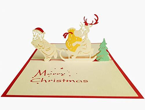 3D Pop Up Kerstkaart met envelop Set van Papier Craft Get Well Binnenkort uitgesneden Wenskaart voor Nieuwjaar Vakantie Gift - Feature kerstboom, Sneeuwman, Rendier en Bell Christmas snow car