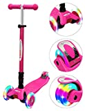 ChromeWheels Scooters for Kids, Deluxe Kick Scooter Foldable 4 Adjustable Height 132lbs Weight Limit 3 Wheel, Lean to Steer LED Light Up Wheels, Best Gifts for Girls Boys Age 3-12 Year Old, Pink