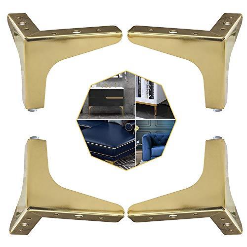 4 pezzi Mobili in metallo Gamba, Piedi per Mobili Triangolari in Metallo per Divani e Poltrone, Piedi per Mobili Triangolari di Ricambio per Armadio, Divano, Sedia, Tavolino (Oro, 10 cm)
