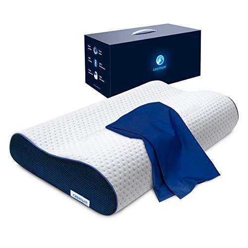 Nackenstützkissen mit Bezug, Schlafkissen für Seitenschläfer und Rückenschläfer - Ergonomisches Kopfkissen aus Memory Foam mit Kissenbezug, höhenverstellbar, 60x30 cm