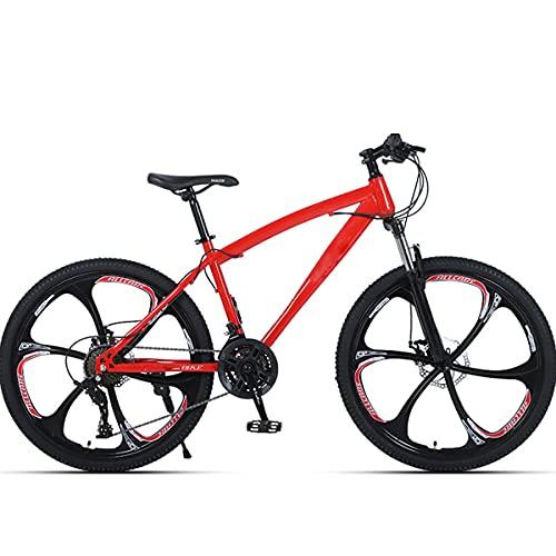 PBTRM 26 Pulgadas 27 Velocidades Bicicleta Montaña MTB para Adultos Y Adolescentes, Horquilla Delantera Bloqueable, Freno Mecánico Doble Disco, Marco Acero con Alto Contenido Carbono,Rojo
