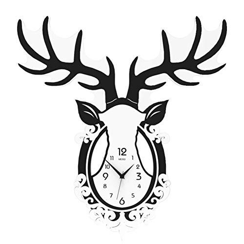 W-SHTAO L-WSWS Ciervos Reloj de Cabeza, Relojes de Pared for no marcando Horometer Cubierta de Vidrio Decorativo Horologe Salón Dormitorio Oficina (números arábigos) -A 20 Pulgadas Relojes de Pared