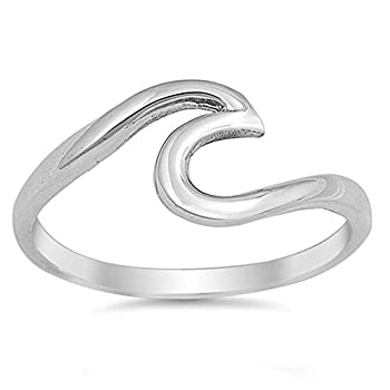 Oxford Diamond Co Solid Sterling Silver Wave Design Ring Size 5