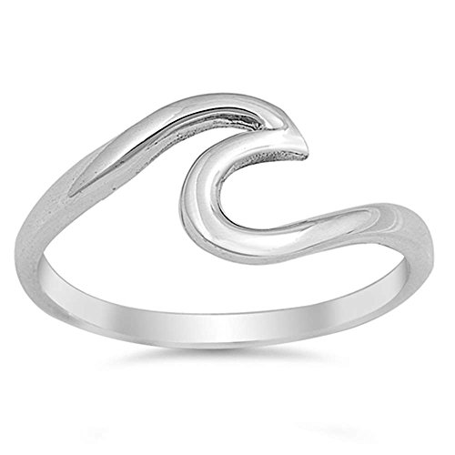 Oxford Diamond Co Wave Design .925 Sterling Silver Ring Size 8