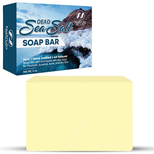 Natrulo Dead Sea Salt Soap Bar for Face & Body, 4oz – Pure Organic All Natural Goat's Milk Bar Soap for Psoriasis, Eczema, Acne, Dry Skin – Cleansing, Exfoliating, Brightening, Smoothing, Nourishing