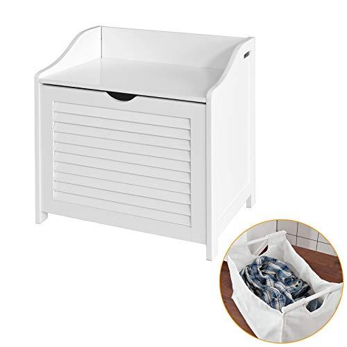 SoBuy FSR40-W Wäschetruhe Wäschebank Wäschekorb Wäschesammler mit Deckel und herausnehmbarem Wäschesack weiß BHT ca.: 50x53x35cm